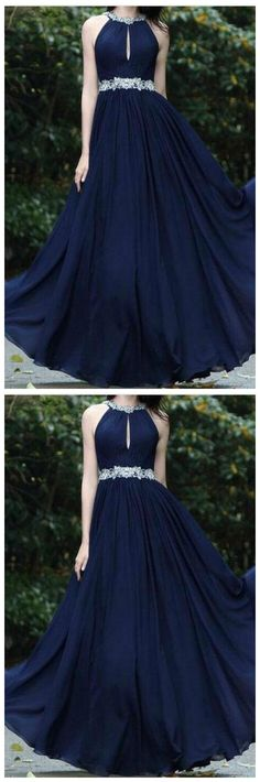 Sexy Chiffon Beads Halter Cheap Navy Blue Simple Backless Prom Dresses  by olesaweddingdresses, $124.52 USD Backless Prom Dresses, Formal Dresses, Chromatic Aberration, Beaded Chiffon, Wedding Veil, Ball Gowns, Dress Shoes, How Are You Feeling, Navy Blue