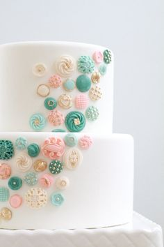 Gorgeous cake from Etsy, made with edible buttons! love, love this design!