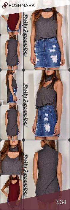"""2 LEFT‼️Charcoal Gray Ribbed Choker Sleeveless Top NWT Charcoal Gray Ribbed Choker Sleeveless Top  Available in S, M, L Measurements taken from a small  Length: 32"""" Bust: 34"""" Waist: 30""""  * Also available in Wine Burgundy *  Rayon/Poly Blend  Features  • choker style neckline  • ribbed • sleeveless  • button at back of neck • super soft material w/stretch  Bundle discounts available  No pp or trades  Item # 1/1011300340WRCT layering top choker turtleneck gray burgundy Pretty Persuasions Tops"""