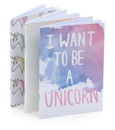 - One plain white design- One all over unicorn print- One 'I want to be a unicorn' design- Internal plain white paper