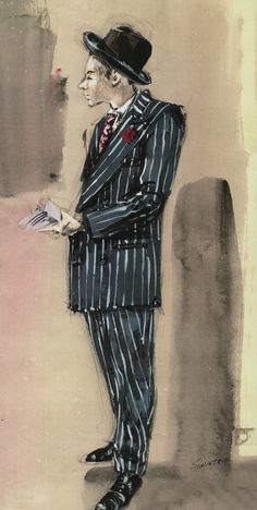 "Irene Sharaff costume sketch for Frank Sinatra in the 1955 MGM film ""Guys and Dolls""."
