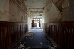 A corridor leading past the staff room to the old part of the school. Sad to see the wooden panelling in such a state. Holy Trinity Convent School, Bromley - 2012