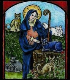 Gertrude of Nivelles Patron Saint of Cats. Nivelles is located in Belgium ;