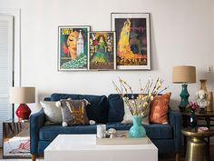Cecily Strong's Apartment Makeover featuring Paidge Sofa + Martini Side Table + Lacquer Storage Coffee Table from west elm