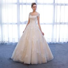 Charming A-Line Short Sleeve Wedding Dress – Trending Accessories Bridal Gown Styles, Bridal Gowns, Wedding Dress Sleeves, Lace Dress, Sexy Gown, Cocktail Wear, A Line Shorts, Wedding Dresses 2018, Strapless Gown