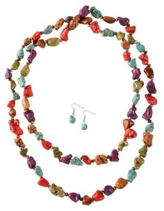 Chunky Multicolored Stone Necklace & Earrings Set available at #Sheplers