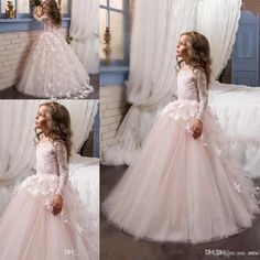 2017 New Hot Flower Girls Dresses For Weddings Long Sleeves Lace Appliques Flowers Tulle Birthday Dress Children Party Kids Girl Ball Gowns Girl Wedding Dress Ivory Flower Gir Ls Dresses Flowers Girls Dresses for Weddings Online with $101.15/Piece on Yes_mrs's Store | DHgate.com