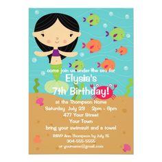 Mermaid Birthday Invitations Customizable Little Girl Mermaid Birthday Party Card
