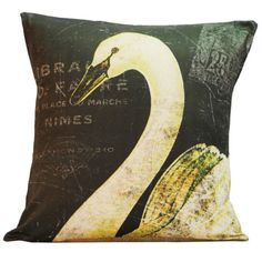 Vintage French Pillow Swan Antique Document Burlap Cotton Throw Pillow