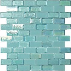 Iridescent Recycled Glass Tile Aquamarine 1 x 2 made in the USA for kitchen backsplash and bathroom walls. Glass Pool Tile, Glass Mosaic Tiles, Pool Tiles, Rustic Kitchen, Kitchen Tile, Kitchen Reno, Translucent Glass, Aqua Glass, Kitchen Models