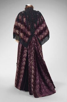 House of Worth, Ensemble, 1894, Culture: French, Medium: silk, beads, jet fur, & linen, back view