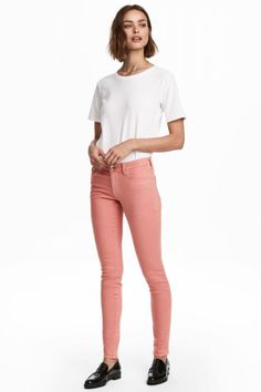 Check this out! PREMIUM QUALITY. Shaping. 5-pocket jeans in washed denim with technical stretch to hold and shape the tummy, thighs, and seat, while retaining shape. Low waist and skinny legs. - Visit hm.com to see more.