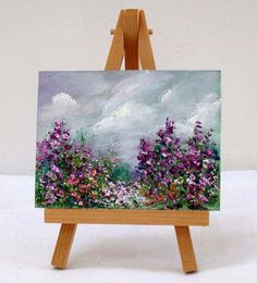 Garden Scene With Purple Flowers,  3x4, gift item, original painting ,includes easel by valdasfineart on Etsy