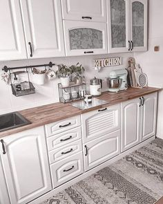 Discovered by Mouna DramaQueen. Find images and videos about white, home and house on We Heart It - the app to get lost in what you love. Kitchen Island, Kitchen Cabinets, Double Vanity, Kitchen Design, Kitchen Ideas, Room Decor, Rustic, House, Instagram