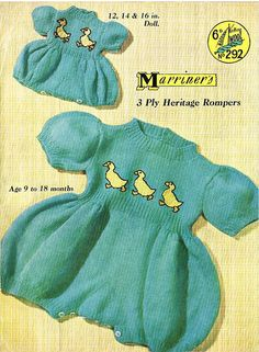 Items similar to PDF Vintage Baby & Doll Clothes Knitting Pattern Romper Sailor Onesie Sun Play Suit Baby Gro DUCK Bird Motif Marriner 292 Summer on Etsy Kids Knitting Patterns, Easy Knitting, Knitting For Kids, Crochet Patterns, Retro Baby, Baby Doll Clothes, Baby Dolls, Romper Suit, Romper Pattern