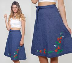 Vintage 70s WRAP Skirt Denim Blue STRAWBERRY Print Novelty Skirt by LotusvintageNY