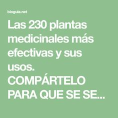 Las 230 plantas medicinales más efectivas y sus usos. COMPÁRTELO PARA QUE SE SEPA! - Guia natural y ecológica