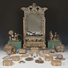Toilet Set of 32 Objects, 1740-1750s China, Silver, filigree, gilding and other materials. (c) State Hermitage Museum Belonged to Catherine II