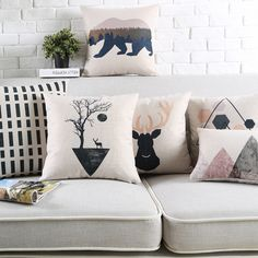 2016 black and white Style Fashion New Cushion deer Print pillow Bed Sofa Home Decorative Pillow Fundas bear Almofadas Cojines Sofa Bed, Bed Pillows, Cushions, Nordic Art, Deer Print, Sofa Home, Black And White Style, Home Textile, Decorative Throw Pillows