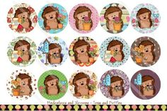 HEDGEHOGS AND 'SHROOMS 1 Inch Circles Bottle Cap Digital File