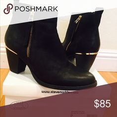 Steve Madden Wantagh Black Booties My first Posh Post! Never worn Steve Madden suede booties. 3 inch heel. These are gorgeous, but a 1/2 size too big for me. Gold detail and zippers on both sides. Welcome me to Posh with an offer😉 Steve Madden Shoes Ankle Boots & Booties
