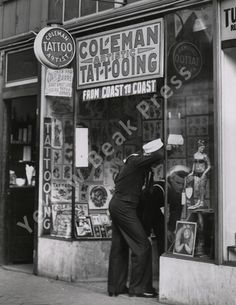 Vintage Cap Coleman/Charlie Barrs Tattoo Shop Front – Yellow Beak Press - Tattoo History Books, Prints, & Apparel