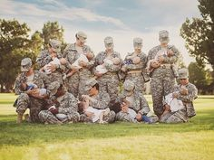 Moms on Duty: 10 Active Duty Soldiers Pose for Photo While Breastfeeding Their Babies in Full Uniform http://www.people.com/article/soldiers-breastfeed-their-children-in-uniform