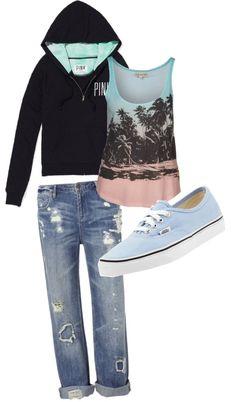 baby blue Vans, destroyed denim jeans & VS PINK ♥