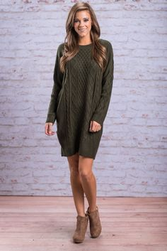 """""""Warm Embrace Sweater Dress, Hunter Green"""" Once you slip into this sweater dress you will feel a warm embrace surround you! It's cable knit fabric is so cozy! You are also going to love it's loose yet flattering fit! #newarrivals #shopthemint"""