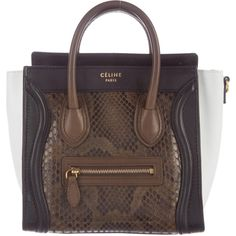 Pre-owned C?line Tricolor Python Nano Luggage Tote (74,890 THB) ❤ liked on Polyvore featuring bags, handbags, tote bags, black, zip tote bag, handbag purse, zip tote, celine tote and celine purse