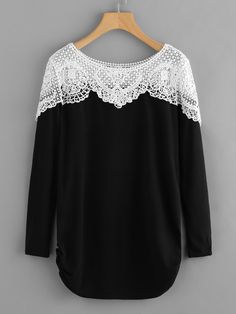 Shop Contrast Hollow Out Crochet Marled Tee online. SheIn offers Contrast Hollow Out Crochet Marled Tee & more to fit your fashionable needs.