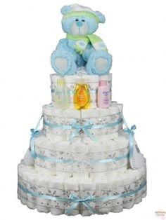 Blue Baby's 1st Christmas Diaper Cake 4 Tier