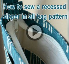 Bolsa - How to add a zipper to the top of a bag - esp Nancy Ziemans' Trace & Create bags.FreeSpirit-Rowan 10 & 10 Series: Unisex Urban schoudertas in Tula Pink / Zout WaterShoulder bag tutorial - includes how to add a recessed zip at top of bag and sew a Sewing Hacks, Sewing Tutorials, Sewing Tips, Techniques Couture, Sewing Techniques, Sac Lunch, Zipper Tutorial, Handbag Patterns, Diy Purse