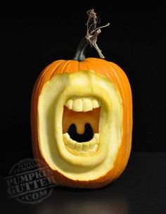 """""""The opposite side of this pumpkin was cut to create the uvula. It looks cool … Advertisements """"The opposite side of this pumpkin was cut to create the uvula. It looks cool from the front, but it looks really weird… Continue Reading → Pumpkin Carving Pictures, 3d Pumpkin Carving, Awesome Pumpkin Carvings, Pumpkin Carving Contest, Pumpkin Stencil, Spooky Pumpkin, Pumpkin Art, Pumpkin Faces, Halloween Pumpkins"""