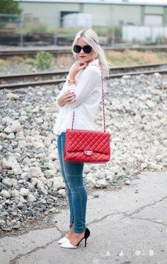 Top - Windsor | Pants - Ditto's | Purse - Chanel via Fashionphile | Shoes - Windsor | Bracelets - Princess P | Lips - Stila (Carina)