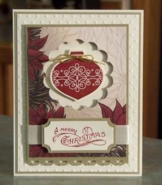 "Set of 4 Cards  Handmade Stampin Up CONTEMPO by WhimsyArtCards **** SU ""Tags til Christmas"" & ""Bells & Boughs"" images."