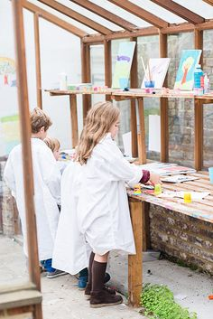 """Living With Kids: Celia Munoz -- """"Our art room has become the best babysitter ever! Generally on Saturday afternoons, our children paint or they work with clay while we are sat outside having a glass of wine, with their little screams of joy (and fighting) as background noise. To us, this is all we need!"""""""