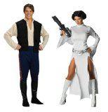 Star Wars Dlx Han Solo XL & Princess Leia X Small Couples Costume Set
