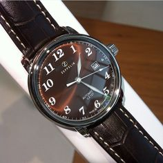 Zeppelin, automatic, watch, brown, chocolate