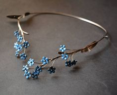 Stainless steel Necklace forget-me-not by IrenaMarie on Etsy