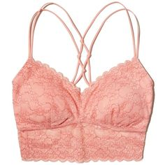 Hollister Strappy Lace Longline Bralette With Removable Pads ($17) ❤ liked on Polyvore featuring intimates, bras, pink lace, wireless bras, bralette bras, full coverage padded bra, pink lace bra and strappy lace bra