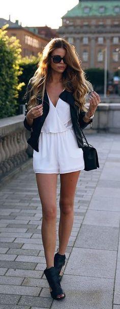 White romper + moto jacket.