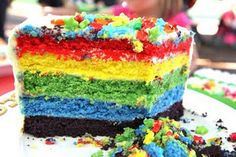 Next time you have a children's birthday cake to create (or an adult for that matter!!)  this rainbow layer cake is just the ticket to many ooooo's and aahhhh's.