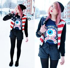 Beanie, America Bomber Jacket, Eyeball Tee, Leather Shorts, Underground Creepers