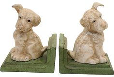 1920s Iron Puppy Bookends