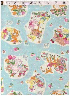 HALF YARD Yuwa - Little Animals, Bear, Kitten, Deer on Blue - Atsuko Matsuyama 30s collection - Japanese Import Fabric by fabricsupply on Etsy
