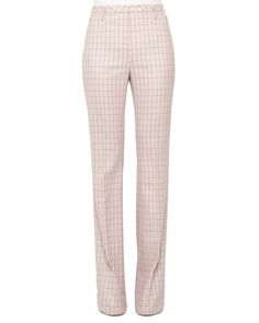 High-Waist Boot-Cut Check Pants, Flamingo/Steppe, Women's, Size: 16, Flamiingo/Steppe - Akris