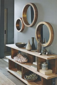 Round mirrors are held by thick wooden frames that evoke the glamour of a luxury liner. Shiny brass trim on the inner rim accentuates the clean and simple design. Made of mango wood with a waxed finish. x deep Medium dia. Decoration Hall, Room Decorations, Entryway Decor, Wall Decor, Entryway Mirror, Tv Decor, Ikea Mirror, Christmas Decorations, Entrance Table Decor