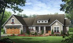 This striking Craftsman style home with a ranch style structure (House Plan #141-1245) has over 1810 square feet of living space. The one story floor plan includes 3 bedrooms.
