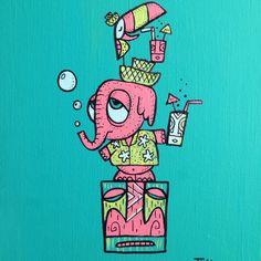 Pink elephant painting for Hukilau